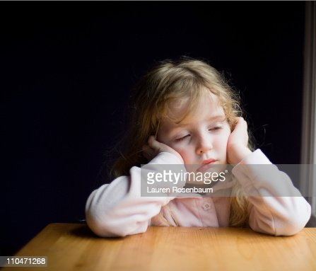 Sick little girl : Stock Photo