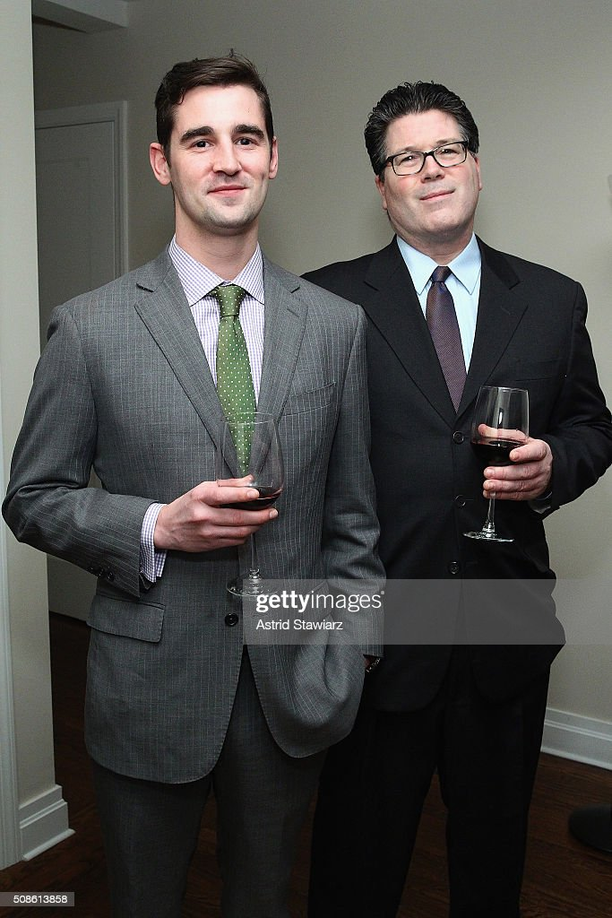 Sid Goudie (L) and David Heffernan attend an intimate evening of friends and colleagues at Mr. Colin Dougherty's New York City apartment on February 5, 2016 in New York City.