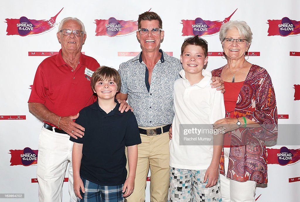 Sid Strand, Eli Scofield, Renowned Beverly Hills hairstylist Lenny Strand, Riley Scofield, and Bonnie Strand attend the Bash To Banish Bullying Benefiting It Gets Better, a Matrix Chairs Of Change Event - Day 1 at Saguaro Hotel on March 16, 2013 in Palm Springs, California.