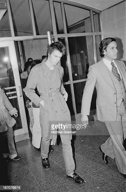 Sid Vicious arriving at Manhattan Criminal Court for the trial of the murder of Nancy Spungen 15th October 1978