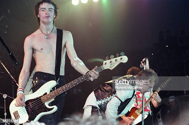 Sid Vicious Johnny Rotten and Steve Jones of The Sex Pistols perform live at The Winterland Ballroom in 1978 in San Francisco California
