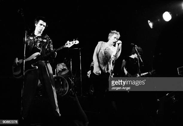 Sid Vicious Johnny Rotten and Steve Jones of the Sex Pistols perform on stage on July 13th 1977 in Copenhagen Denmark