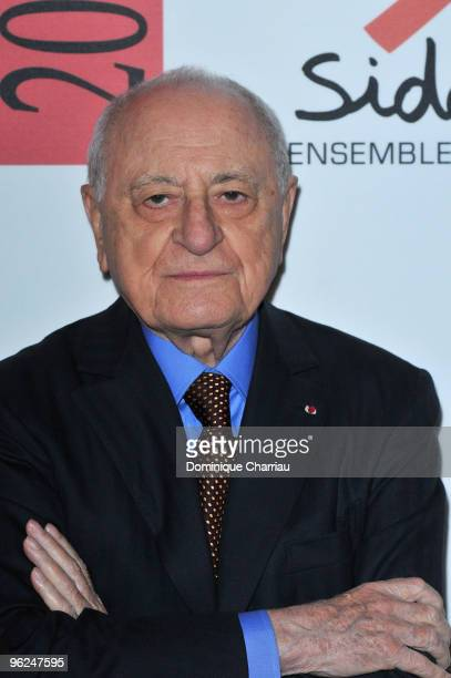 Sidaction founder Pierre Berge attends Fashion Dinner for AIDS at Pavillon d'Armenonville on January 28 2010 in Paris France