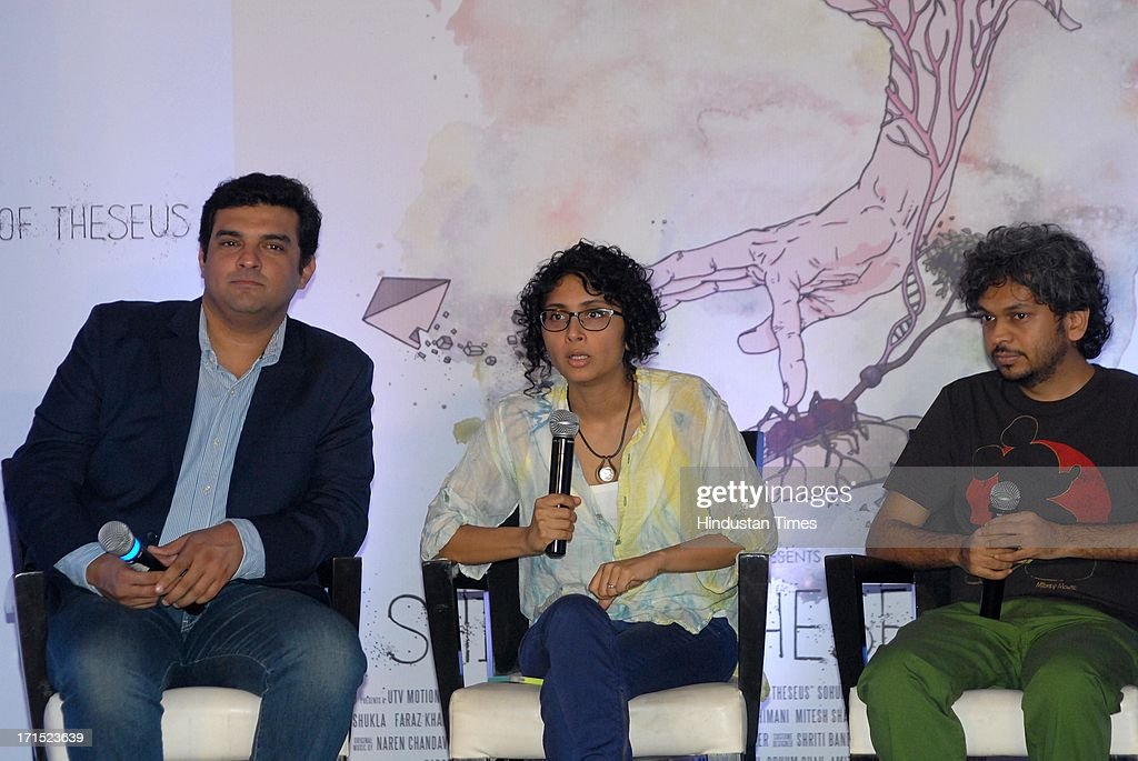 Siddharth Roy Kapur, CEO, UTV Motion Pictures, Bollywood filmmakers Kiran Rao and Anand Gandhi during press conference of film Ship of Theseus at JW Marriott Hotel, Juhu on June 24, 2013 in Mumbai, India.