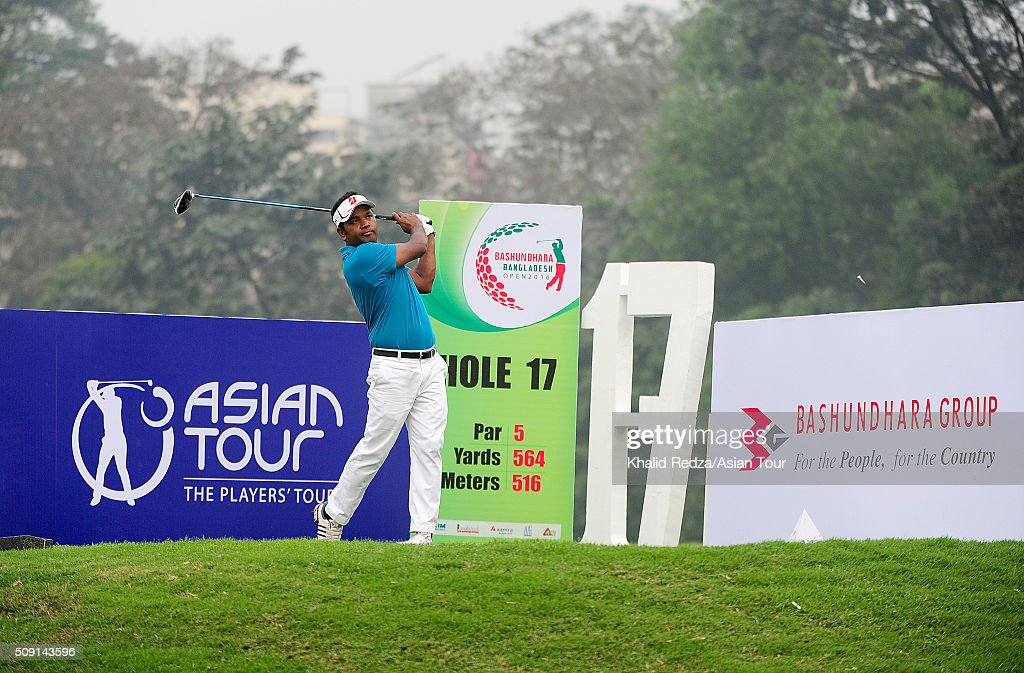 Siddikur Rahman of Bangladesh plays a shot during practice ahead of the Bashundhara Bangladesh Open at Kurmitola Golf Club on February 9, 2016 in Dhaka, Bangladesh.