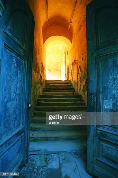 Side entrance of old, abandoned European castle
