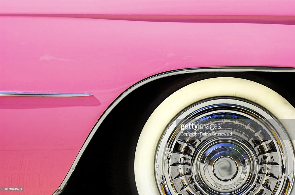Side of pink cadillac : Stock Photo