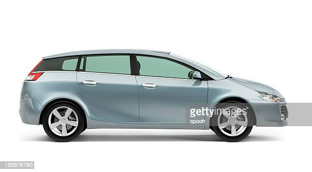 Side of silver modern compact car on a white background