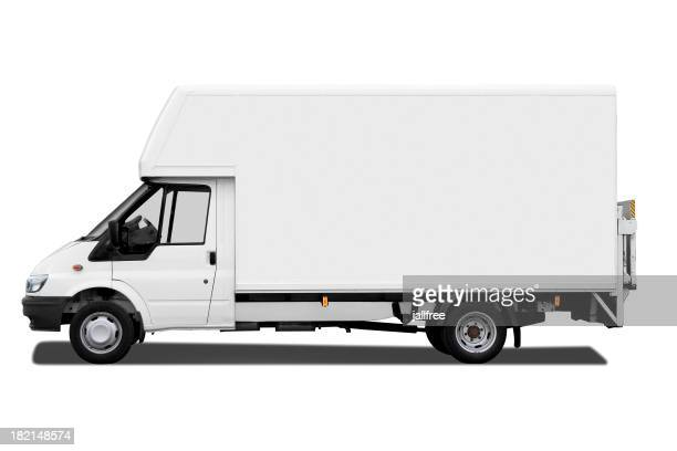 Side of white van isolated on white background with path