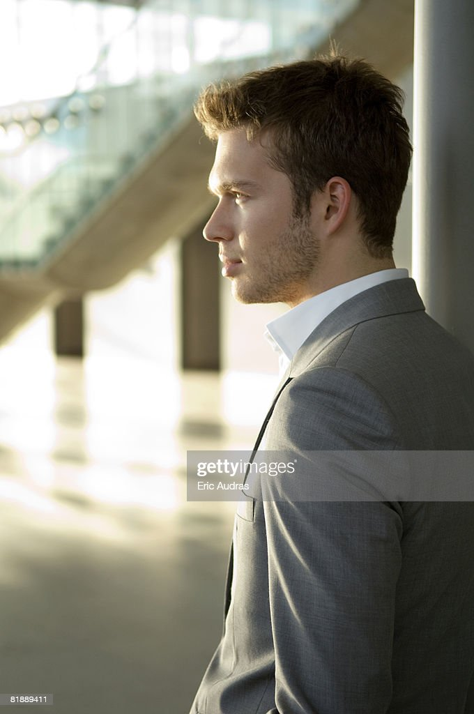 Side profile of a businessman : Stock Photo