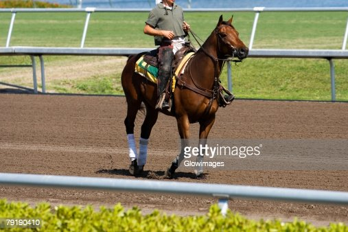 Side profile of a jockey riding a horse in a horse race : Foto de stock
