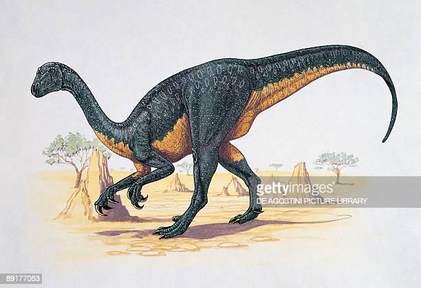 Side profile of a therizinosaurus dinosaur walking on a landscape