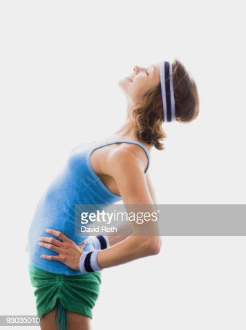 Side profile of a woman exercising