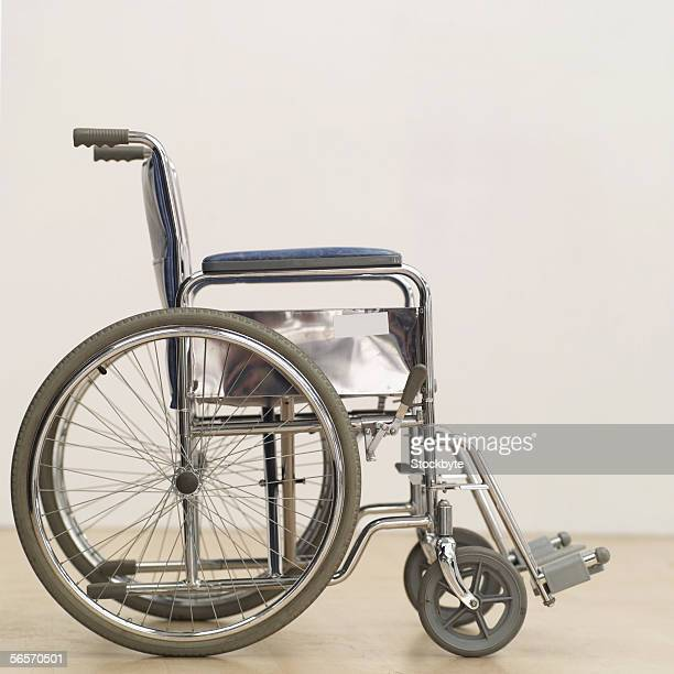 side profile of an empty wheelchair