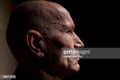 Side Profile of Mature Man, Low Key