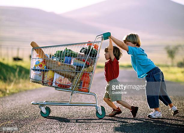 Side profile of two young boys (4-8) pushing a full shopping cart