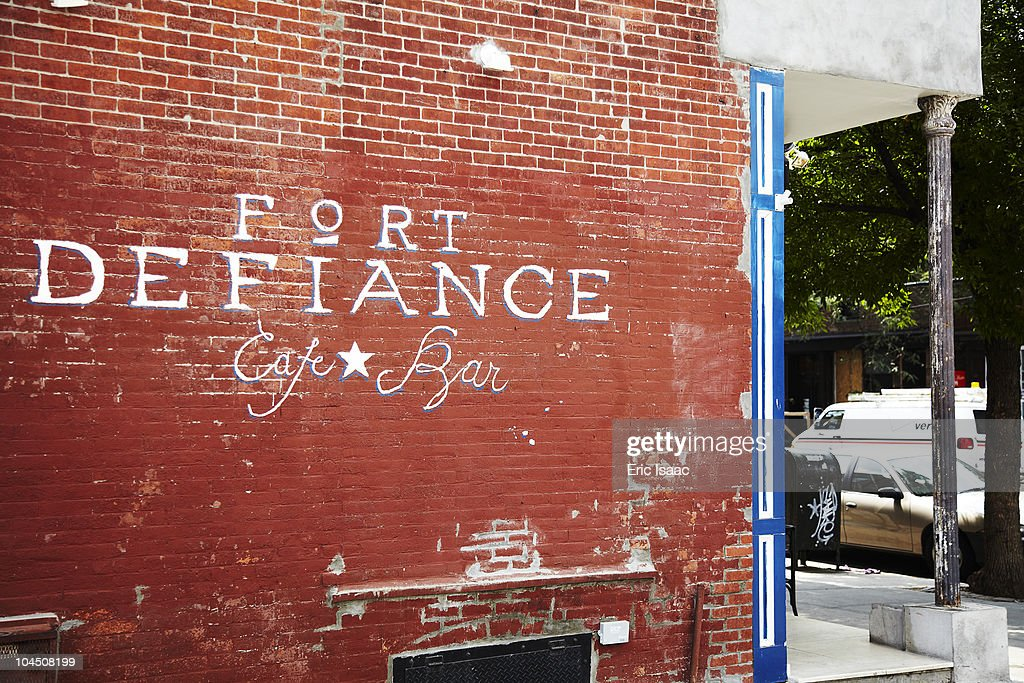 Side sign of the restaurant Fort Defiance in Red Hook Brooklyn