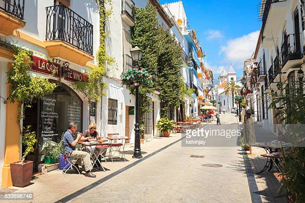 Side street in Marbella Old Town with bars and restaurants