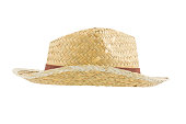 Side view bamboo panama hat isolated on white background