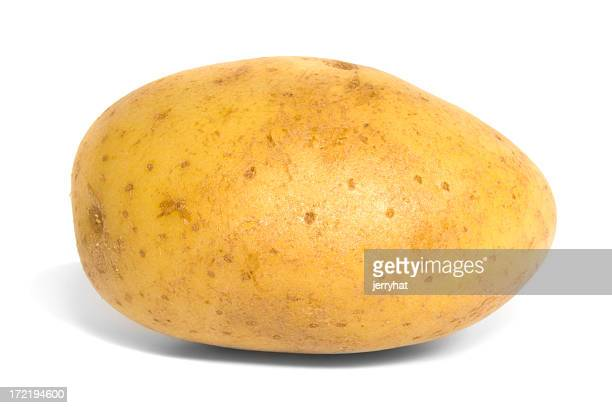 Side view of a baking potato against a white background