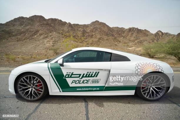 A side view of a new Audi R8 car a part of the Dubai Police supercar patrol fleet On Friday 3rd February in Dubai UAE