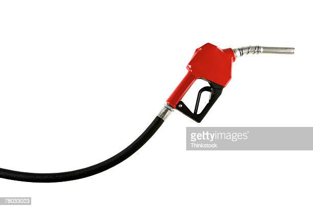 Side view of a red handled gasoline pump against a white background.