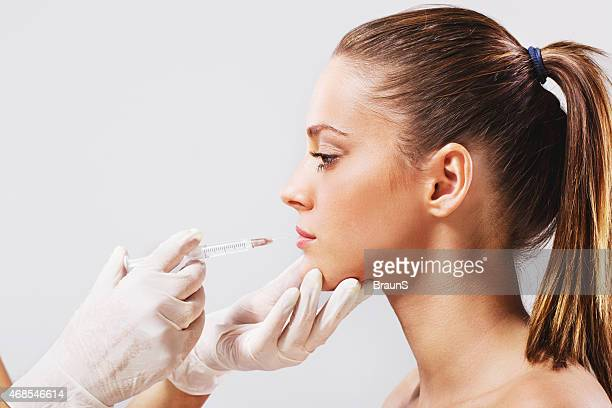 Side view of a treatment with Botox injection.