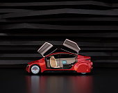 Side view of autonomous car on abstract background. Left doors opened and front seats turned to rear side. Laptop on the table. 3D rendering image.