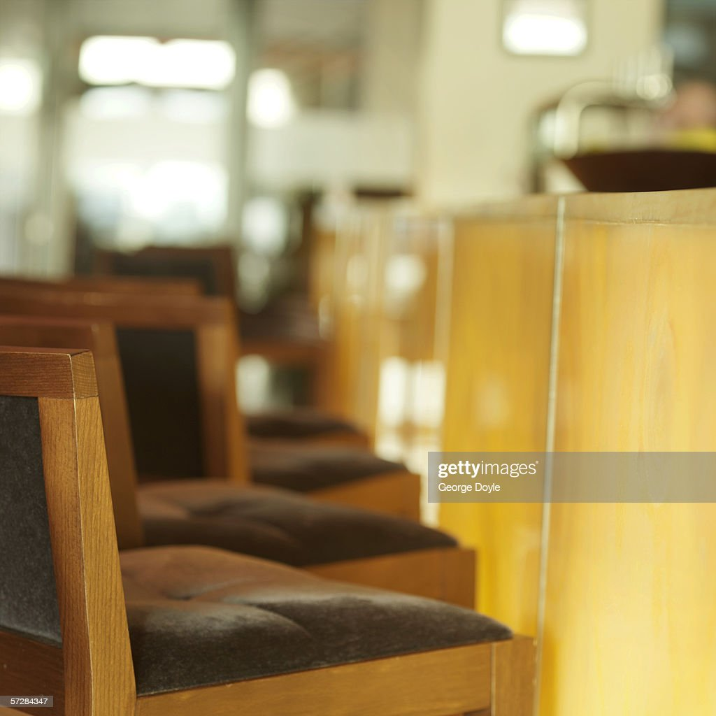 Side View Of Bar Stools At Counter Stock Photo Getty Images