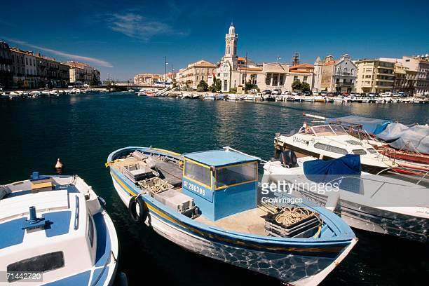 Side view of boats anchored at a harbor, Sete, France