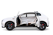 Side view of electric SUV concept car isolated on white background. The doors opened and front seats was turned backward for communication. 3D rendering image with clipping path.