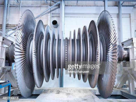 Side view of low pressure steam turbine in repair bay