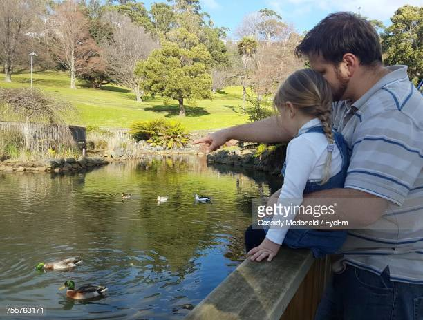 Side View Of Man Showing Ducks To Daughter