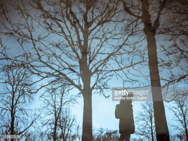 Side View Of Man Standing By Bare Trees Against Sky