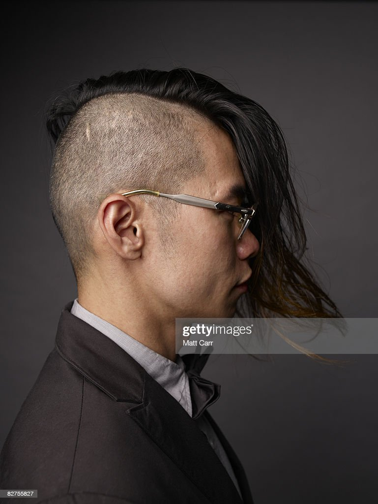 Side view of model with cool hair