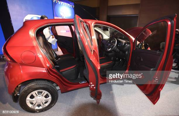 Side view of new Datsun RediGo with one litre petrol engine on display during its launch on July 26 2017 in New Delhi India New Datsun rediGo will...