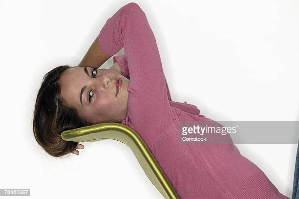 Side view of relaxed teenage girl