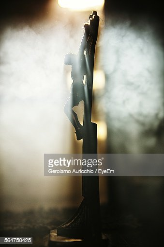 Side View Of Sculpture Of Crucified Jesus Christ
