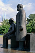 Side View of Sculpture of Karl Marx and Friedrich Engels