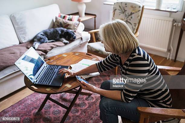 Side view of senior woman using laptop at home while dog relaxing on sofa