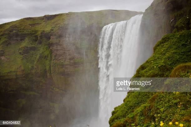 Side view of Skogafoss waterfall