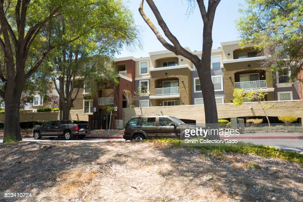 Side view of the Arioso Apartments near the Apple Park known colloquially as 'The Spaceship' the new headquarters of Apple Inc in the Silicon Valley...