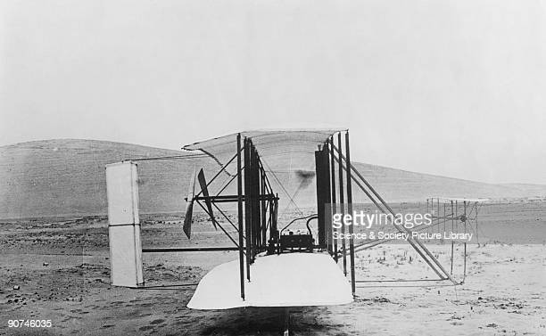 Side view of the 'Flyer' on its launch rail at Kitty Hawk in North Carolina Orville Wright and his brother Wilbur were selftaught American aeroplane...