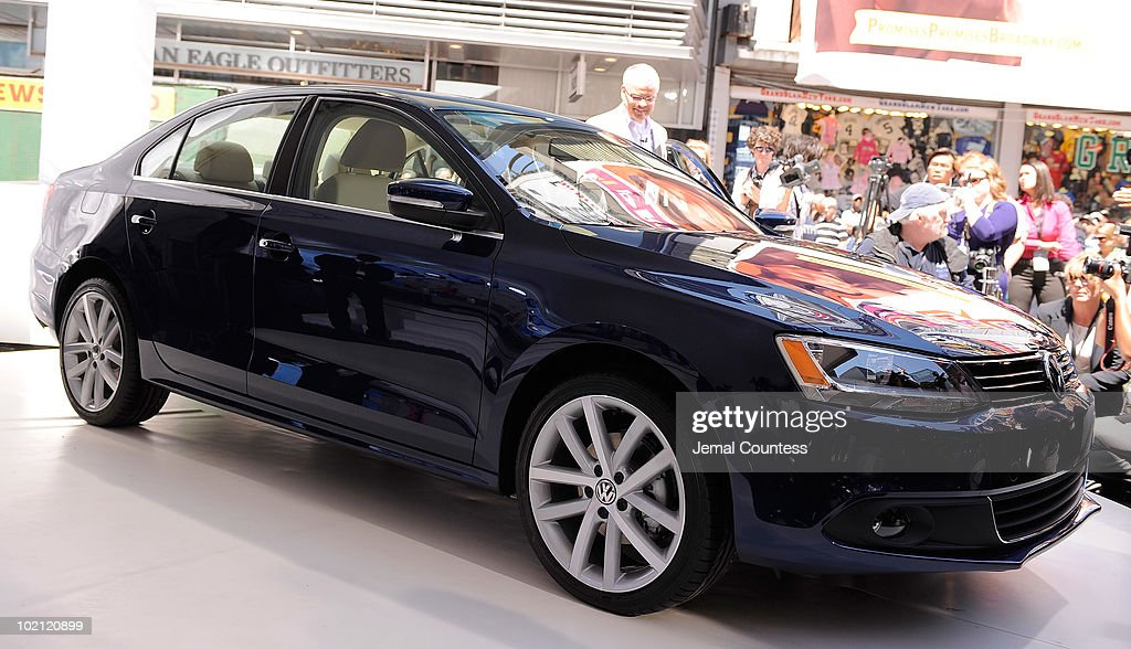 A side view of the new 2011 Volkswagen Jetta Compact Sedan at the world premiere of Volkswagen's new Jetta compact sedan at Times Square on June 15, 2010 in New York City.