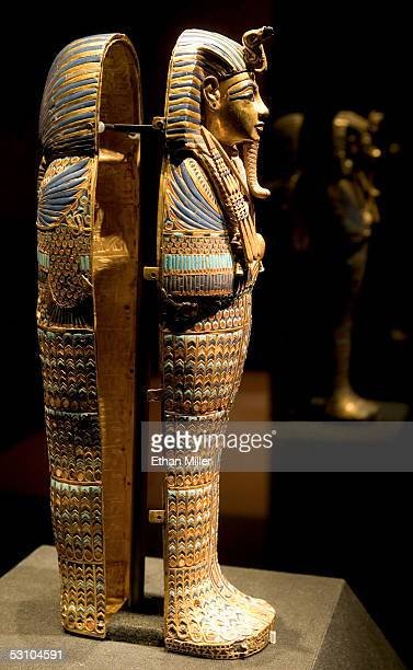 A side view of the Viscera Coffin of Tutankhamun is on display during the 'Tutankhamun And The Golden Age Of The Pharaohs' Exhibit Opening at LACMA...