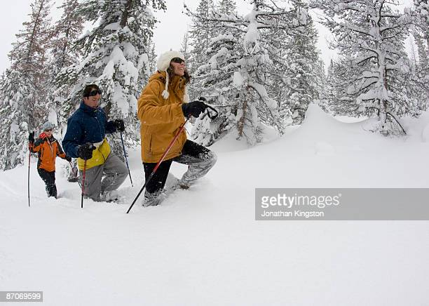 Side view of three people snowshoeing in the woods in deep powder in Bend, Oregon.