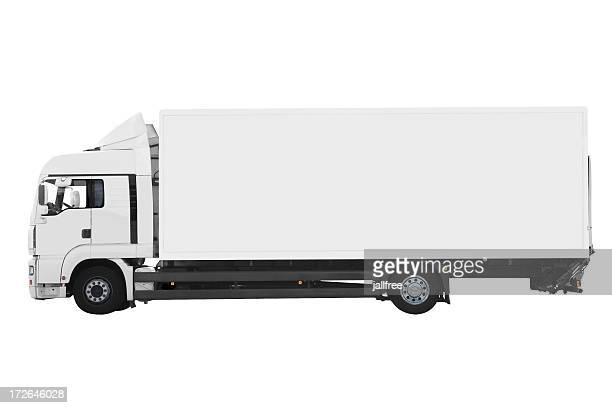 Side view of white truck isolated on white