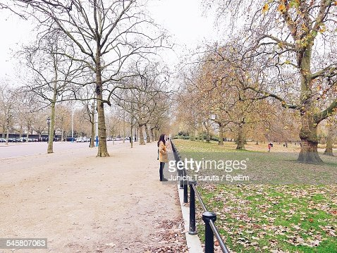 Side View Of Woman Looking At Park While Standing On Walkway