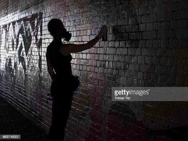 Side view of woman spray painting on wall