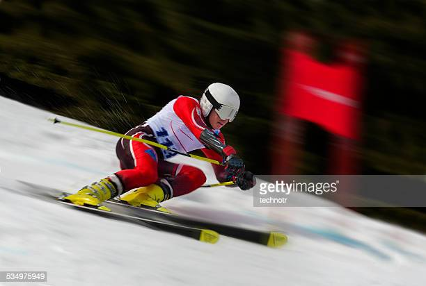 Side View of Young Man at Giant Slalom Competition